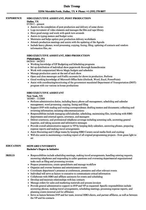 Executive Assistant Resume by Hbo Executive Assistant Resume Sles Velvet