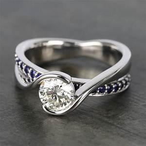 1 5 Carat Diamond Price Chart Bezel Sapphire Gemstone Bridge Engagement Ring In Platinum