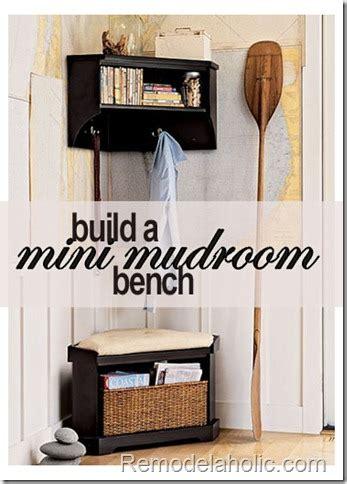 Corner Entryway Storage - mini mudroom corner storage bench