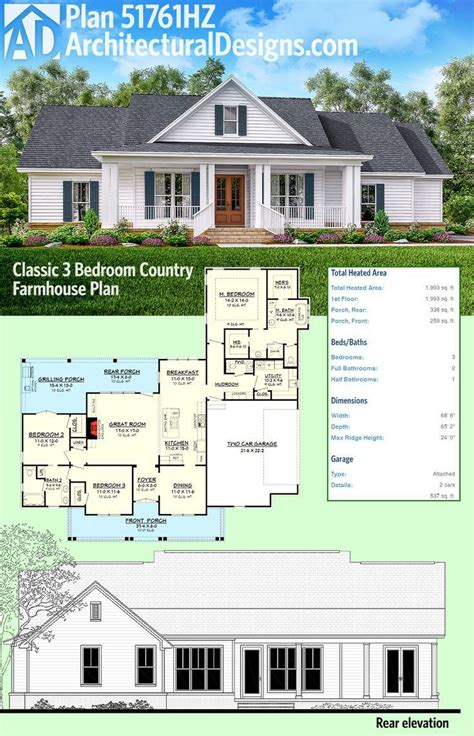 architectural design home plans plan 51761hz 3 bed country farmhouse plan