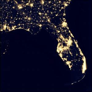 Floridia Map NASA Night Lights - Pics about space