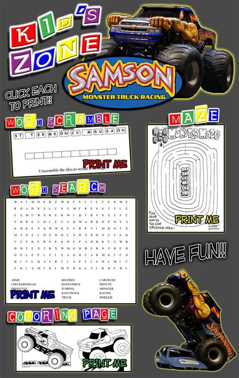 samson monster truck game activities  kids  children activities coloring book word