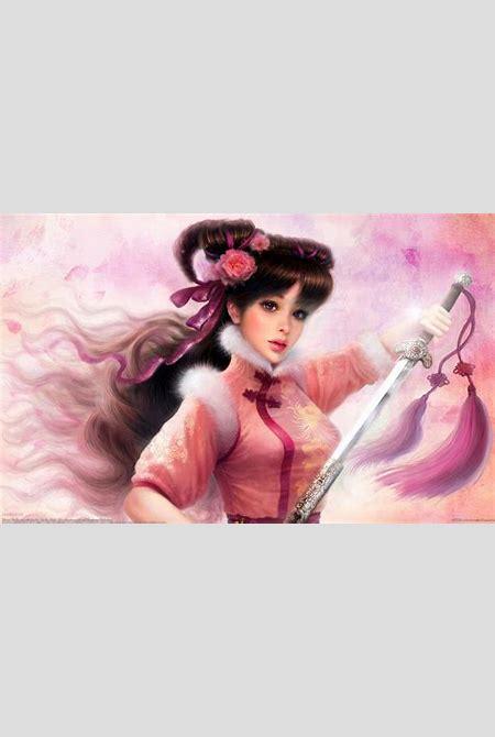 Fantasy girl kimono long hair petals beautiful sword flower wallpaper   2560x1600   594505 ...