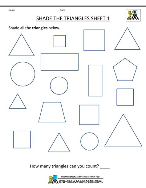 free shape worksheets kindergarten 402 | preschool shape worksheets shade the triangles 1