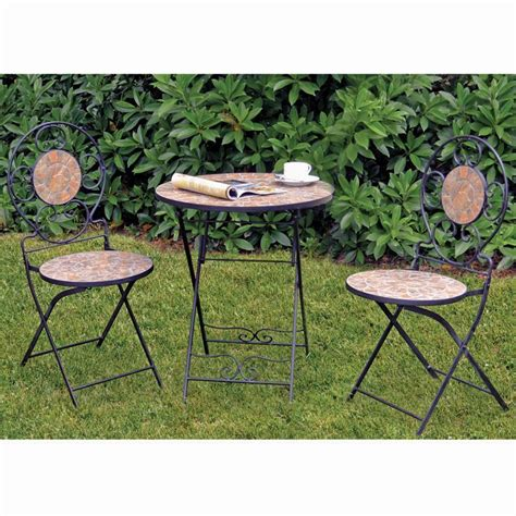 2 chairs table bistro set seat 3 messina mosaic
