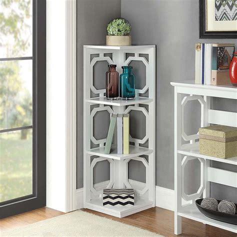 White Corner Bookcases by 3 Shelf Corner Bookcase In White 203270w