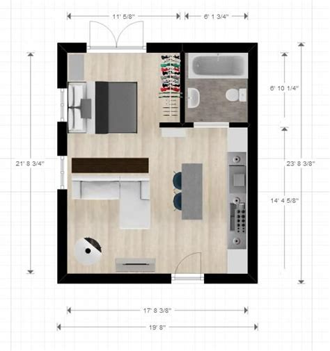 apartment layout design 20ftx24ft cabin or studio apartment layout compact