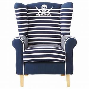 Fauteuil enfant en coton rayé bleu marine Pirate Maisons du Monde