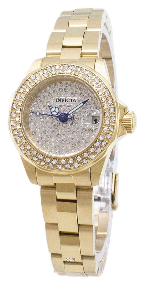 invicta angel  diamond accents analog quartz womens