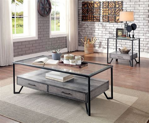 Mismatched bedding sets purchased from the outlet must be accepted as a set at the time of delivery. Furniture Of America Ponderay Gray Black 3pc Coffee Table Set   The Classy Home