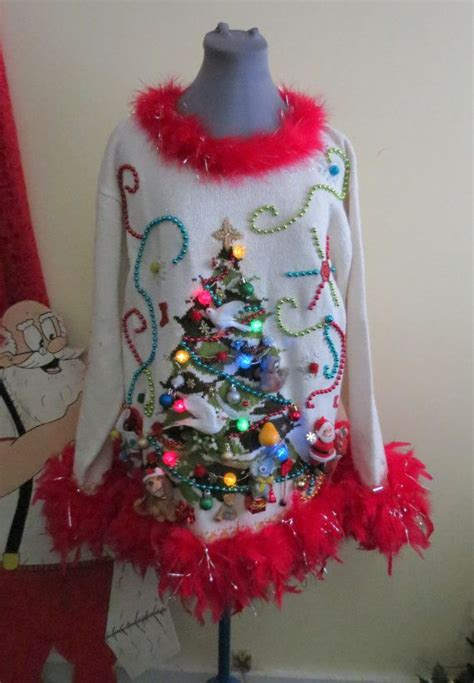 light up ugly christmas sweater the tree isnt the only thing getting lit 2 turtle doves a pear a squirrel in a tree tacky sweater mini dress