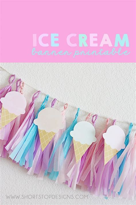 ice cream banner printable party ideas ice cream party