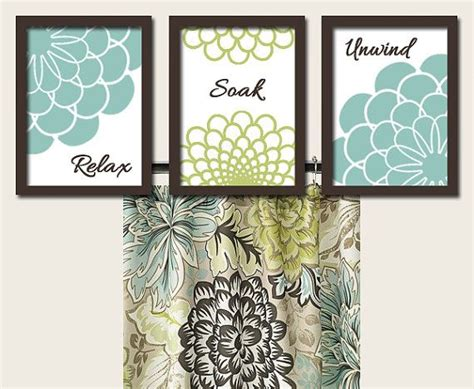 teal green brown bathroom dahlia flower artwork set of 3 trio prints wall decor relax soak