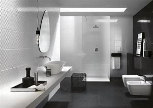 Carrelage Noir Salle De Bain : salle de bain blanche et noire un classique revisit en ~ Dailycaller-alerts.com Idées de Décoration