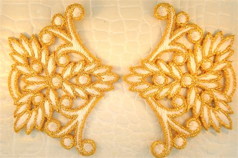 Gold Applique by Metallic Gold White Floral Design Iron On Applique