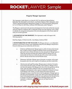 property management agreement form free template with sample With property manager agreement template