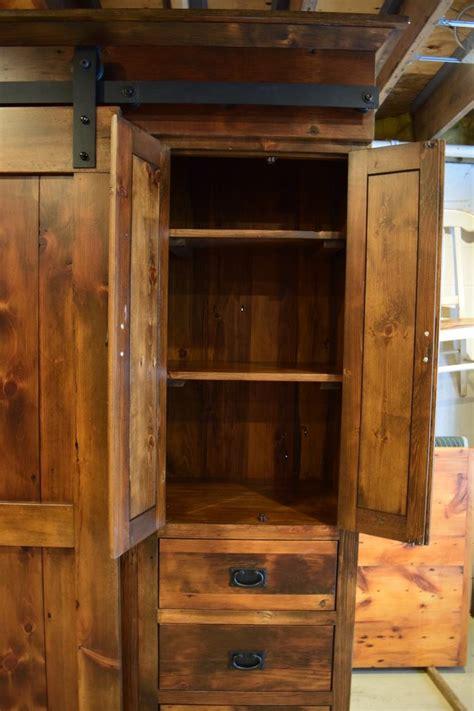 rustic  profile barn door entertainment cabinet