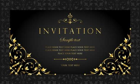 Black and gold vintage style invitation card vector 04