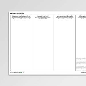 perspective  worksheet  psychology tools