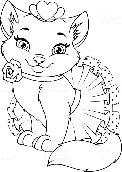cat princess coloring page stock illustration