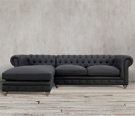 Chesterfield Sectional Sofa Tufted Chaise Tuxedo Gray