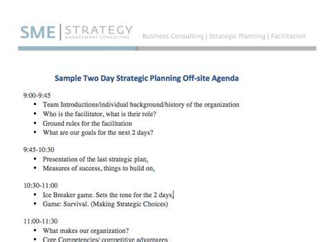 sample strategic planning agenda  days