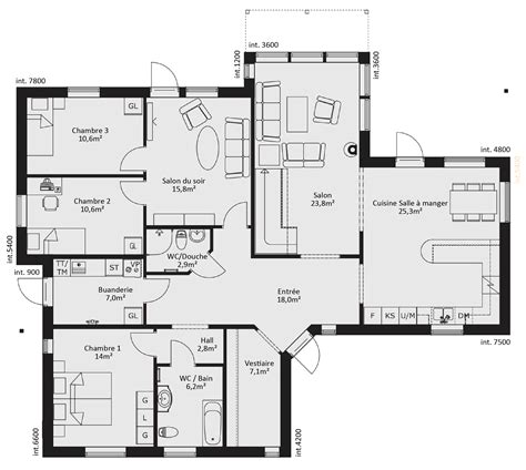 plan maison ossature bois plain pied gratuit plan rdc maison appartementero tk
