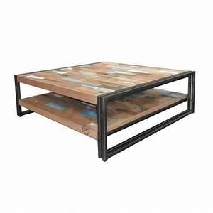 Table Basse Carrée 100x100 : table basse en bois carr e 100 cm industry achat ~ Teatrodelosmanantiales.com Idées de Décoration