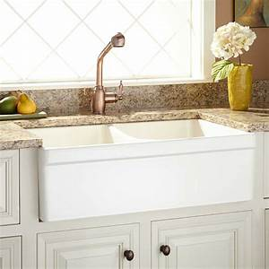 33quot fiammetta double bowl fireclay farmhouse sink with With 2 bowl farmhouse sink