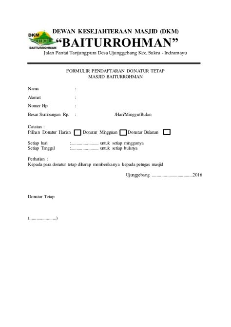 Contoh Formulir Pendaftaran Calon Ketua Organisasi - Surat R