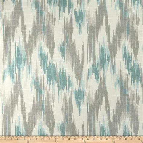 Home Accents Casbah Ikat Slub Opal Teal and Grey Fabric