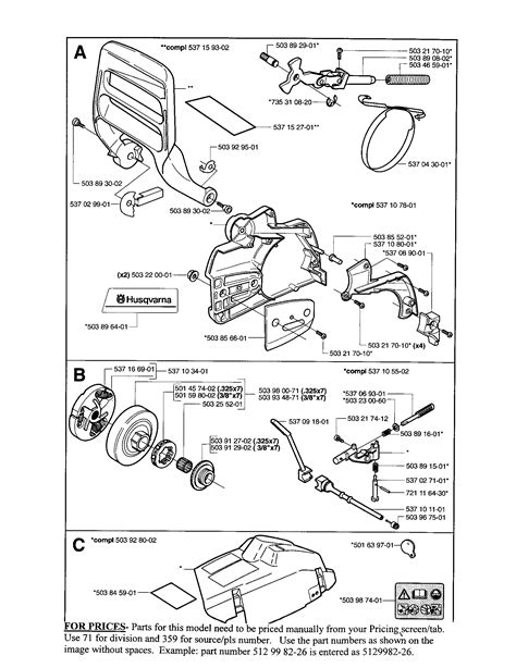 husqvarna chainsaws parts manual  palmetto  bph