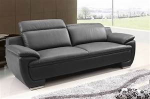 Canapé Cuir De Buffle : canap 3 places en cuir italien rimini noir mobilier priv ~ Melissatoandfro.com Idées de Décoration