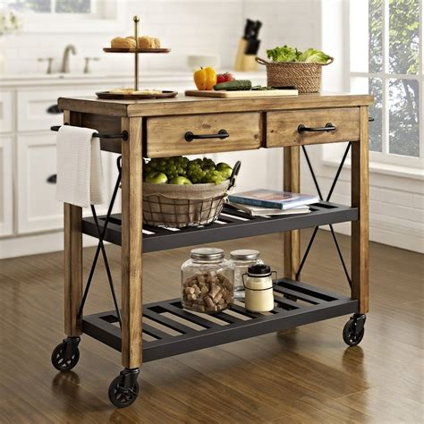 small mobile kitchen islands crosley cf3008 na roots rack industrial kitchen cart atg stores