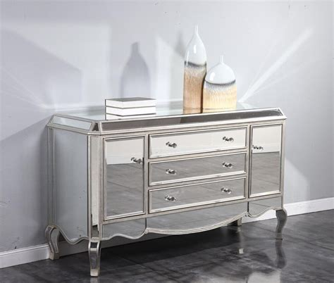 Mirrored Sideboard Furniture by Mirrored Console Buffet Cabinet Dresser Quality Living