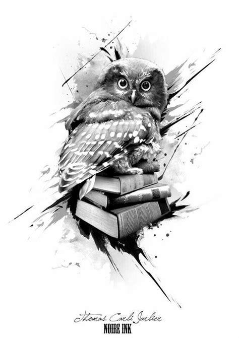 Owl with books tattoo design | Owl tattoo, Book tattoo, Owl