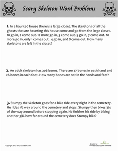 scary skeleton word problems word problems halloween