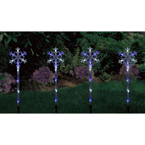 set of 4 blue white led snowflake garden pathway lights