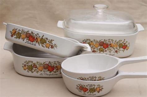 vintage corning glass spice  life kitchen seasonings corningware pans casseroles