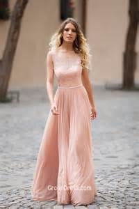 vintage lace bridesmaid dresses illusion lace boat neck sleeveless dusty pink a line modest prom dress groupdress
