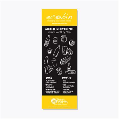 yellow mixed recycling educational laminated poster ecobin