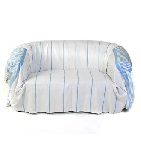 jetee canape jeté de canapé en coton dim 2 x 3m blanc et bleu c1
