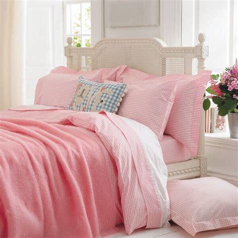 pink gingham duvet cover set