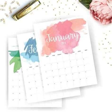 printable monthly calendar printable calendar watercolor