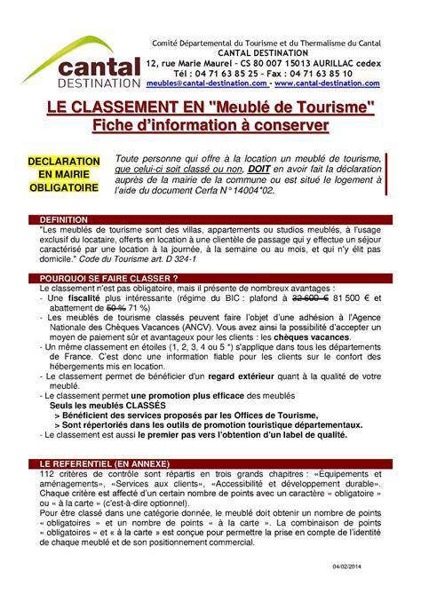 Classement Meublé De Tourisme by Calam 233 O Fiche D Information Classement Quot Meubl 233 De