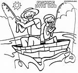 Dad Coloring Son Fishing Colorings sketch template