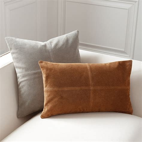 leather throw pillows sueded leather throw pillows ballard designs