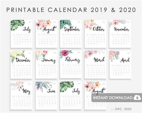 calendar   printable calendar watercolor flowers