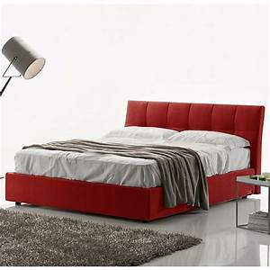 Lit coffre capitonne rouge clever lestendancesfr for Lit adulte rouge