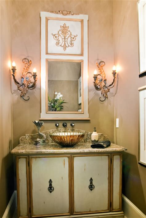 french inspired powder room traditional bathroom